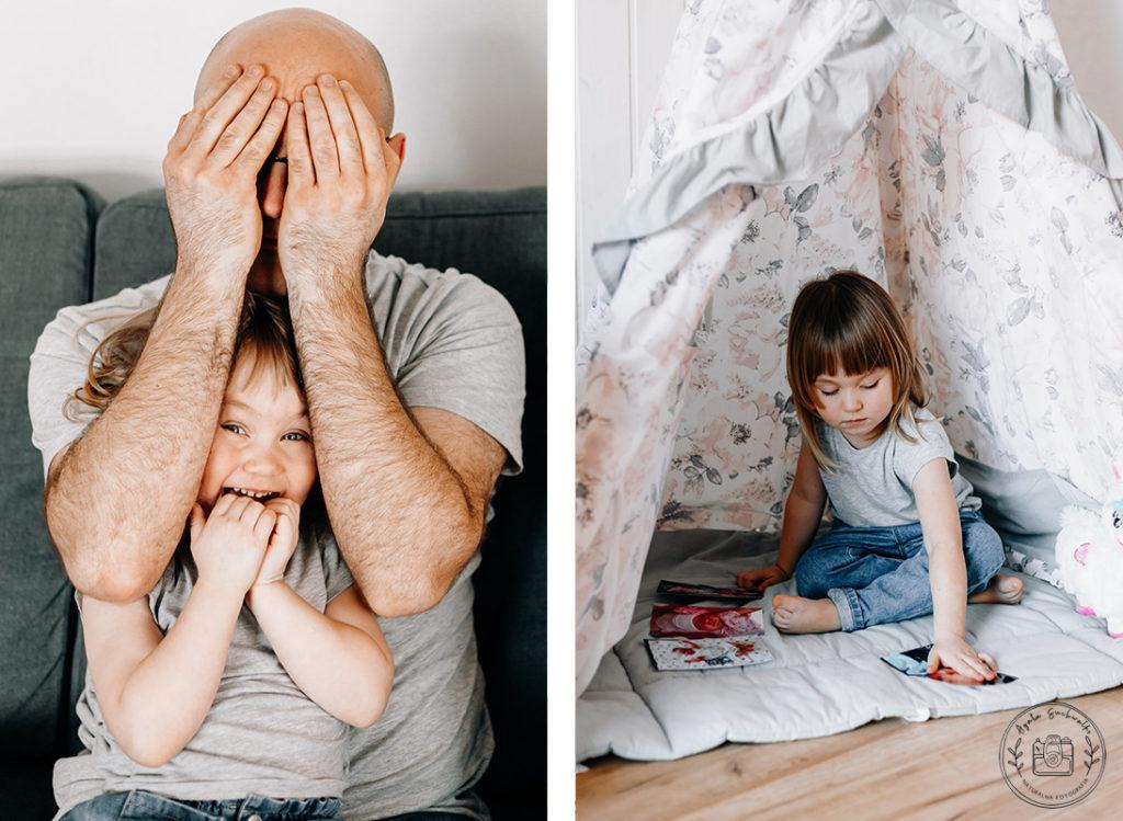 tata z córką podczas zabawy na sesji domowej